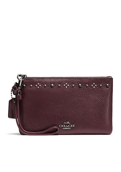 COACH Boxed Daisy Rivets Small Wristlet in Pebble Leather