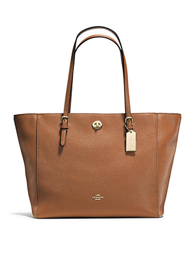 COACH Turnlock Tote in Cross-grain Leather