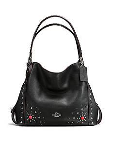 COACH Western Rivets Shoulder Bag 31 in Polished Pebble Leather
