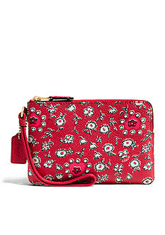 COACH Boxed Small Wristlet in Wild Hearts Print Coated Canvas