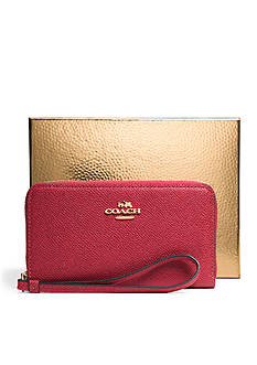 COACH BOXED EMBOSSED TEXTURED LEATHER EAST/WEST UNIVERSAL CASE