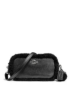 COACH CROSSBODY POUCH WITH SHEARLING TRIM