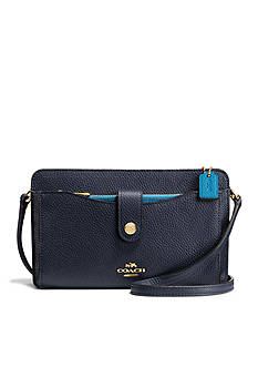 COACH COLORBLOCK LEATHER MESSENGER WITH POP-UP POUCH