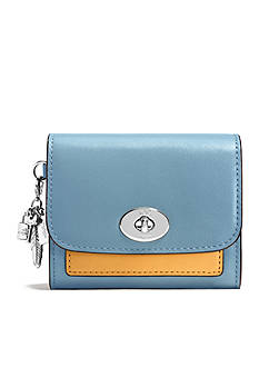 COACH COLORBLOCK LEATHER CHARM COMPACT CASE