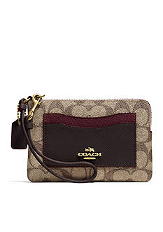 COACH Colorblock Signature Coated Canvas Corner Zip Wristlet