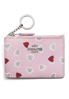 COACH HEART PRINT COATED CANVAS MINI SKINNY ID CASE
