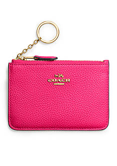 COACH Coach Key Pouch in Polished Pebble Leather