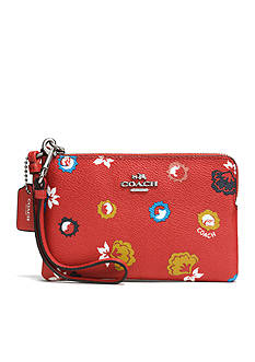 COACH COACH CORNER ZIP WRISTLET IN WILD PRAIRIE PRINT COATED CANVAS
