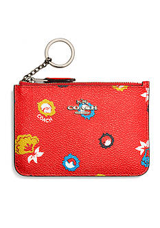 COACH COACH KEY POUCH IN WILD PRAIRIE PRINT COATED CANVAS
