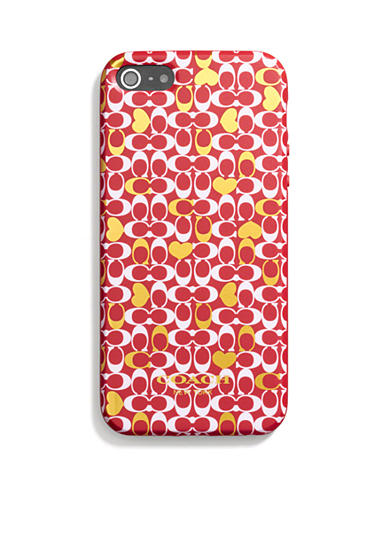 COACH CONFETTI HEART MOLDED SILICONE IPHONE 5 CASE