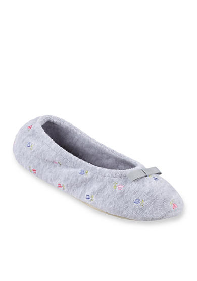 Isotoner&reg Slippers Signature Classics Terry Floral Embroidered Ballerina Slipper