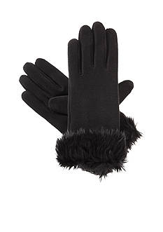 Totes Isotoner Women's Stretch Fleece With Faux Fur Cuff Gloves