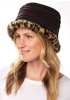 Totes Isotoner Women's Stretch Fleece Pleated Crown With Faux Fur Trim Bucket Hat