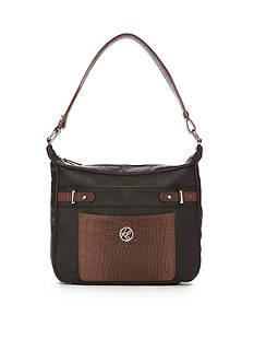 Kim Rogers Croco Double Entry Hobo Style Bag