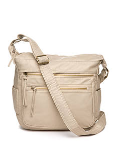 Bueno Pearlized Washed Multi Zip Hobo Crossbody