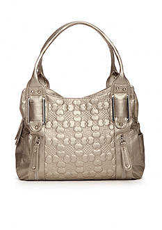 Bueno Heart Flower Embossed Four Poster Satchel