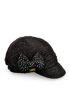 Betmar Stephanie Round Paneled Cap with Rhinestone Bow