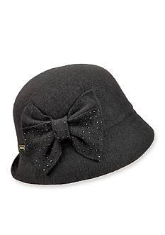 Betmar Betty Wool Cloche Hat With Rhinestone Bow