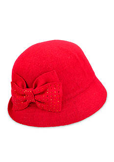 Betmar Betty Wool Cloche Hat With Rhinestone Bow