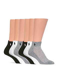 Polo Ralph Lauren Cushion Sole Mesh Top Sport Quarter Socks - 6 Pack