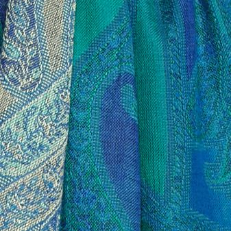 Juniors: Scarves Sale: Peacock Turqoise New Directions Allover Paisley Scarf