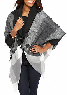 New Directions Brushed Plaid Jacket Wrap