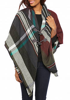 New Directions Ombre Plaid Jacket Wrap