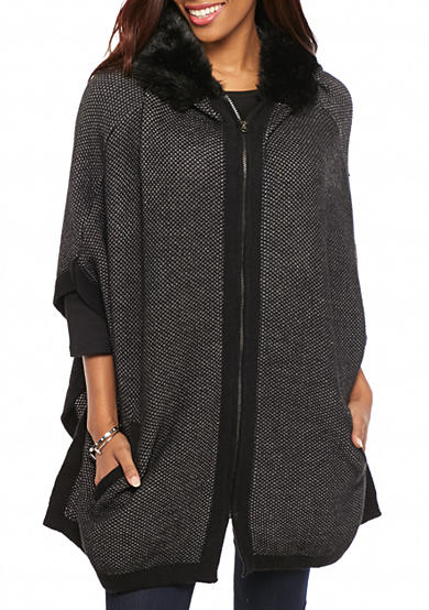 New Directions® Faux Fur Trim Hooded Poncho with Zipper