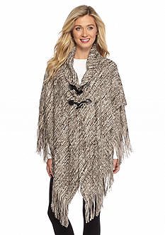 New Directions Woven Spacedye Toggle Poncho