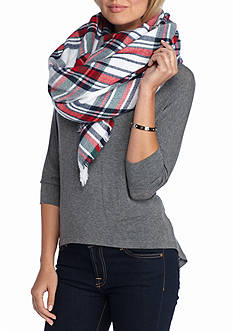 New Directions College Plaid Runway Blanket Wrap