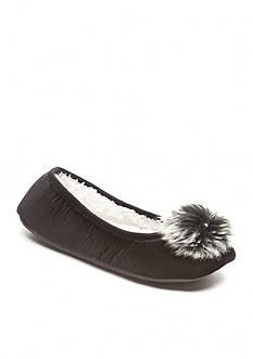 New Directions Pom Pom Velvet Ballerina Slippers