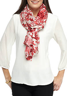 Kim Rogers Floral Branches Silk-Like Neckwrap