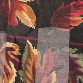 Clothing Accessories: Oblong: Black Kim Rogers Fallen Autumn Leaves Scarf