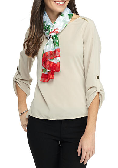 Kim Rogers® Snowman and Pine Ttrees Scarf