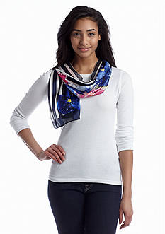 Kim Rogers® Floral Stripe Oblong Scarf