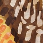 Clothing Accessories: Oblong: Rust Gold Kim Rogers Dry Brush Geo Print Scarf