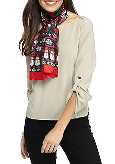 Kim Rogers® Happy Snowman Printed Scarf