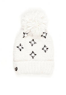 Betsey Johnson Pom Pom Jewel Hat