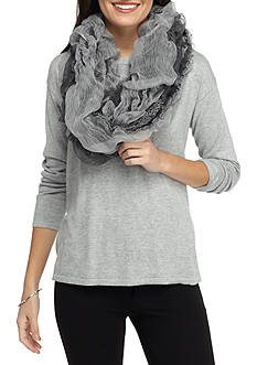 Betsey Johnson Tufted Ruffle Infinity Scarf