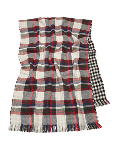 Steve Madden Multi Plaid and Buffalo Check Blanket Wrap
