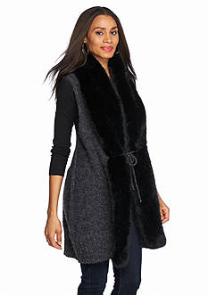 Steve Madden Lux Fur Collar Cardigan Vest