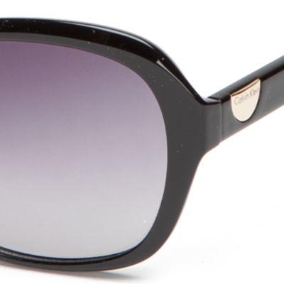 Handbags & Accessories: Calvin Klein Accessories: Black Calvin Klein Rectangle With Logo Button Sunglasses