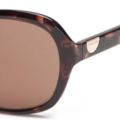 Handbags & Accessories: Calvin Klein Accessories: Soft Tortoise Calvin Klein Rectangle With Logo Button Sunglasses