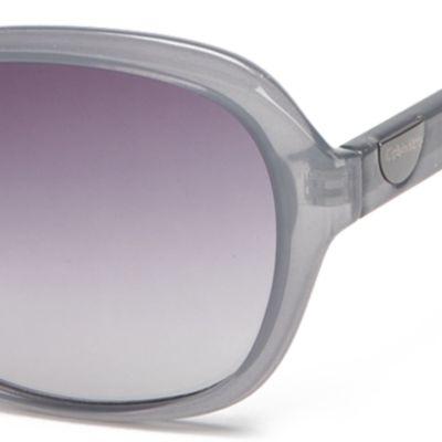 Designer Shades: Calvin Klein: Milky Blue Calvin Klein Rectangle With Logo Button Sunglasses