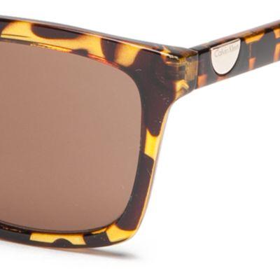 Handbags & Accessories: Calvin Klein Accessories: Tokyo Tortoise Calvin Klein Surf With Logo Button Sunglasses