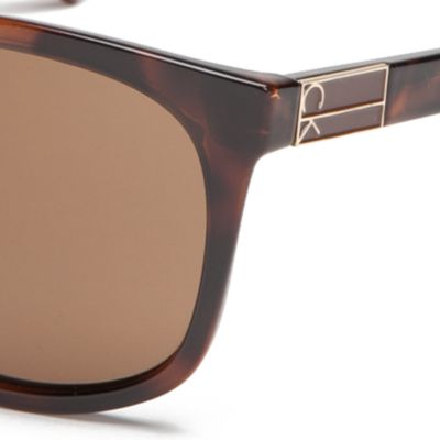 Calvin Klein Sunglasses: Soft Tortoise Calvin Klein Large Surf Style With Metal Plaque Sunglasses