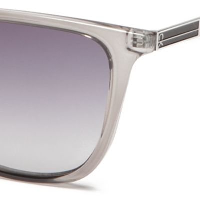 Calvin Klein Sunglasses: Crystal Charcoal Calvin Klein Modified Cat With Large Metal Plaque Sunglasses