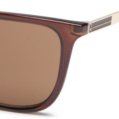 Calvin Klein Sunglasses: Crystal Brown Calvin Klein Modified Cat With Large Metal Plaque Sunglasses