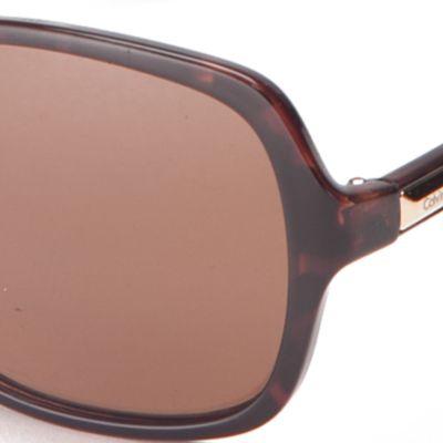 Handbags & Accessories: Calvin Klein Accessories: Soft Tortoise Calvin Klein Large Rectangle Sunglasses