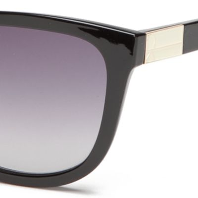 Round Sunglasses: Black Calvin Klein Rounded Rectangle With Metal Logo Sunglasses